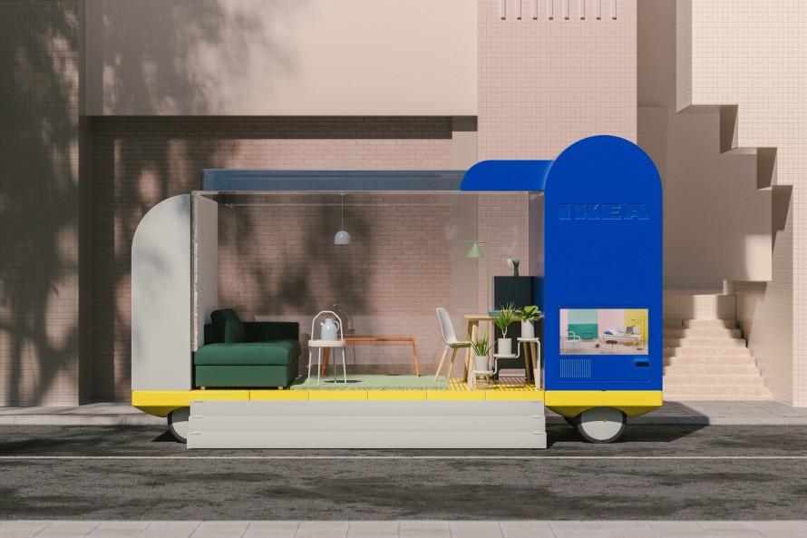 Rendering of Ikea's retail store on Wheels