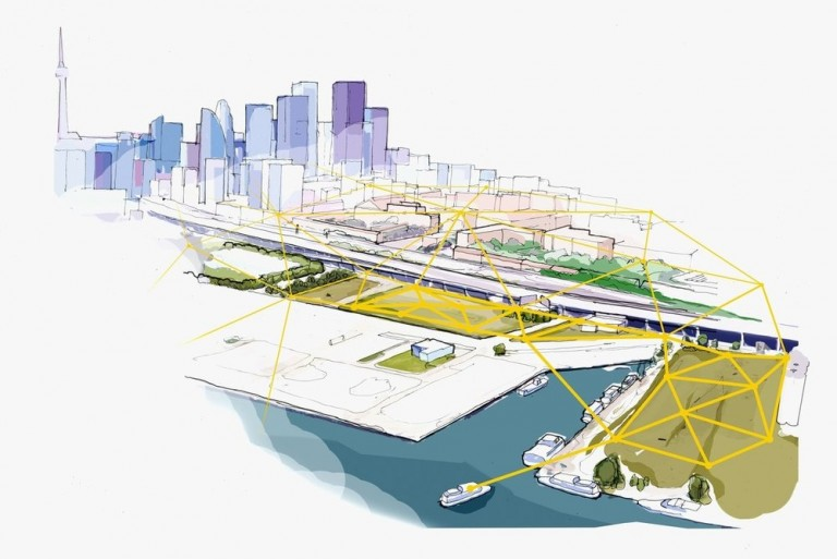 "A sketch of plans for a ""smart city"" area near Toronto's waterfront"