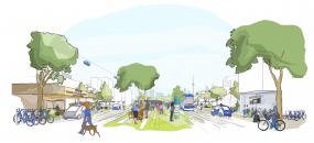 Sketch of Sidewalk Labs's plans for its Toronto smart-city neighborhood