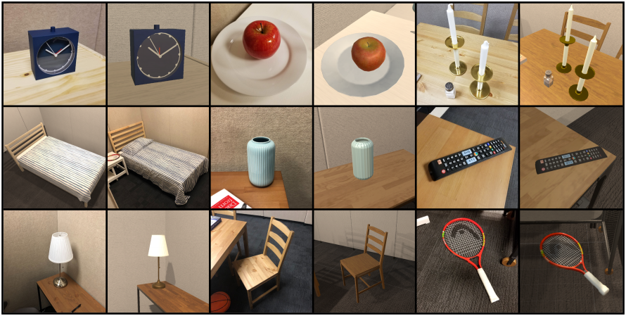 Various real and simulated objects.