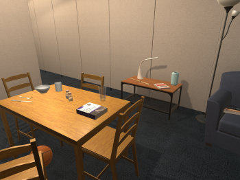 A simulated dining room.