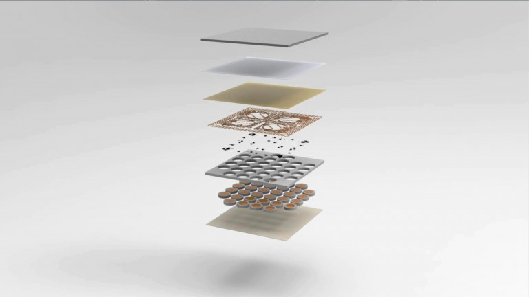 The different layers of the virtual reality skin developed by Northwestern University, illustrated