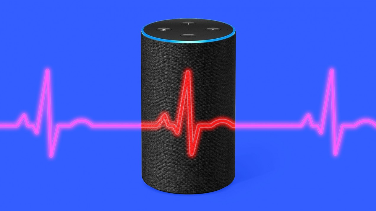 An illustration of an Amazon smart speaker and ECG waves.