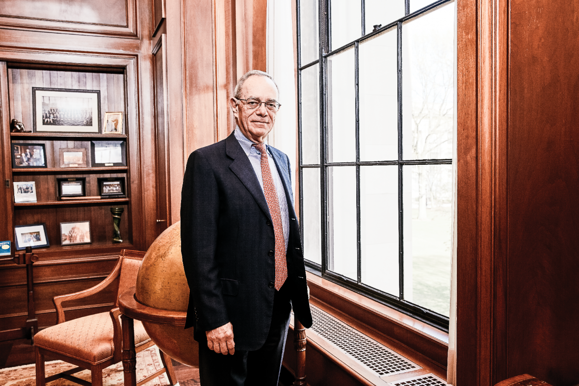 A photo of MIT president L. Rafael Reif in his office