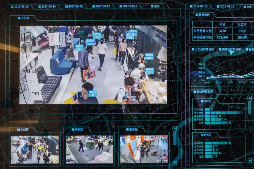 Photo of a facial recognition software applied to video footage of shoppers.