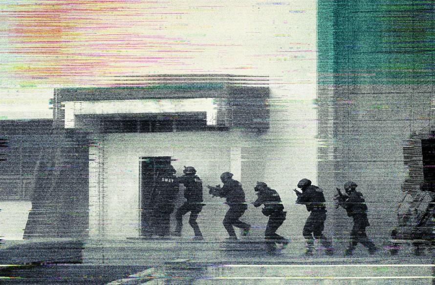 Illustration of a SWAT team entering a building.
