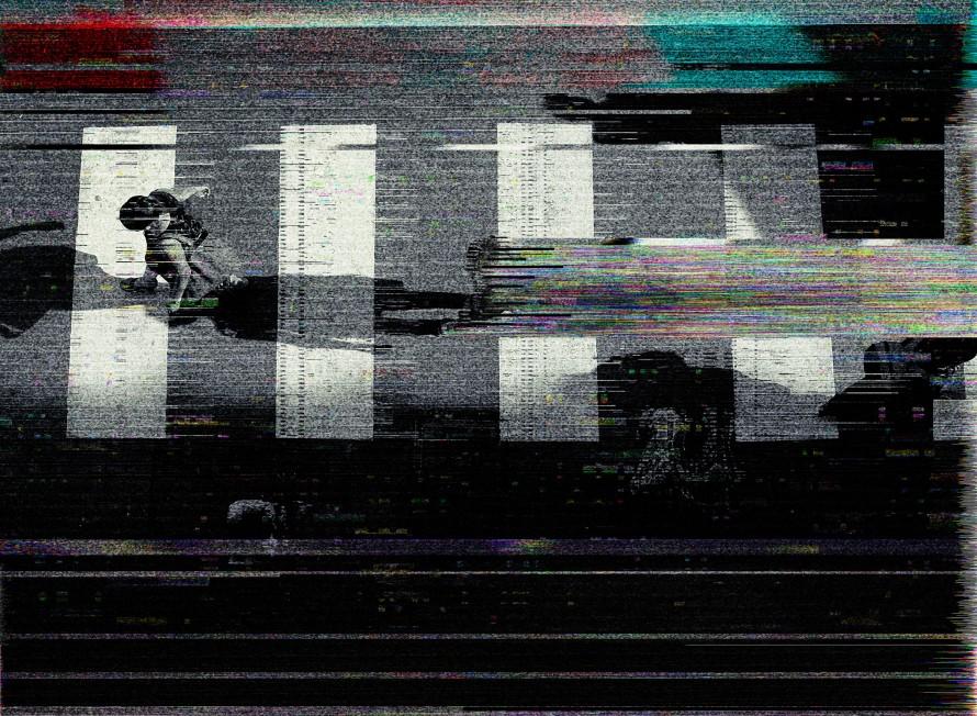 Illustration of an overhead shot of people walking in a crosswalk.