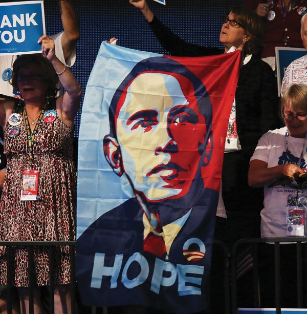 Photo of Obama supporters holding signs at Democratic National Convention