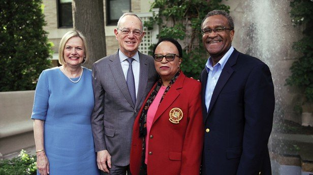 Photo of President L. Rafael Reif, Christine Reif, Shirley Ann Jackson, and Morris Washington