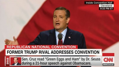Screengrab from a CNN broadcast of the Republican National Convention. Senator Ted Cruz is speaking.