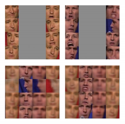 Gridded images of Ted Cruz and Pau Rudd, including some composite images of their faces into one.
