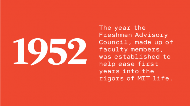 """Text reads: """"1952: The year the Freshman Advisory Council, made up of faculty members, was established to help ease first-years into the rigors of MIT life."""""""