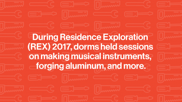 """Illustration of hand tools. Text reads :""""During Residence Exploration (REX) 2017, dorms held sessions on making musical instruments, forging aluminum, and more."""""""