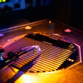 a wafer bearing 500 tiny solar cells