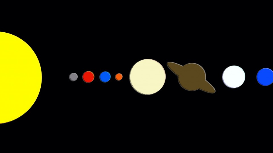 An illustration showing the planets in the solar system