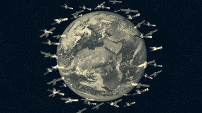 Conceptual illustration of space traffic