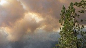 Smoke from a wildfire near California's Stanislaus National Forest