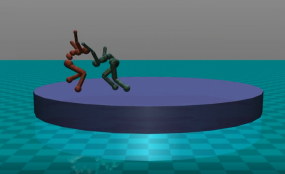 Two AI programs learn to sumo wrestle each other in a virtual environment