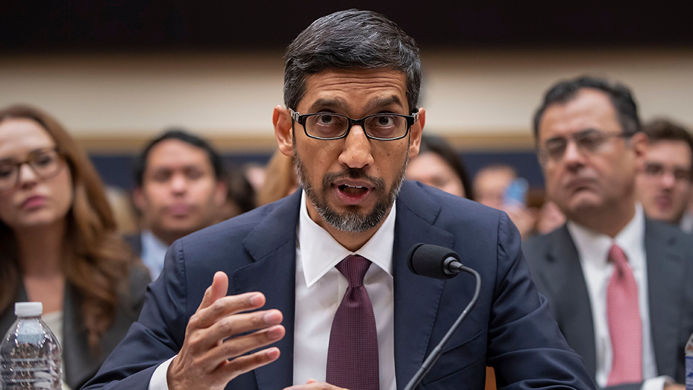 Google CEO Sundar Pichai appearing before Congress