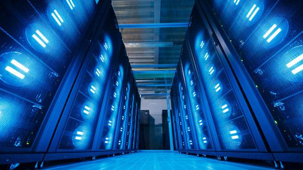 A 'Mistral' supercomputer at the German Climate Computing Center in Hamburg