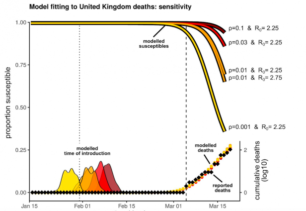 A chart depicting model results that suggest how many people in the UK may have been infected with SARS-CoV-2 based on several assumed characteristics of the virus.