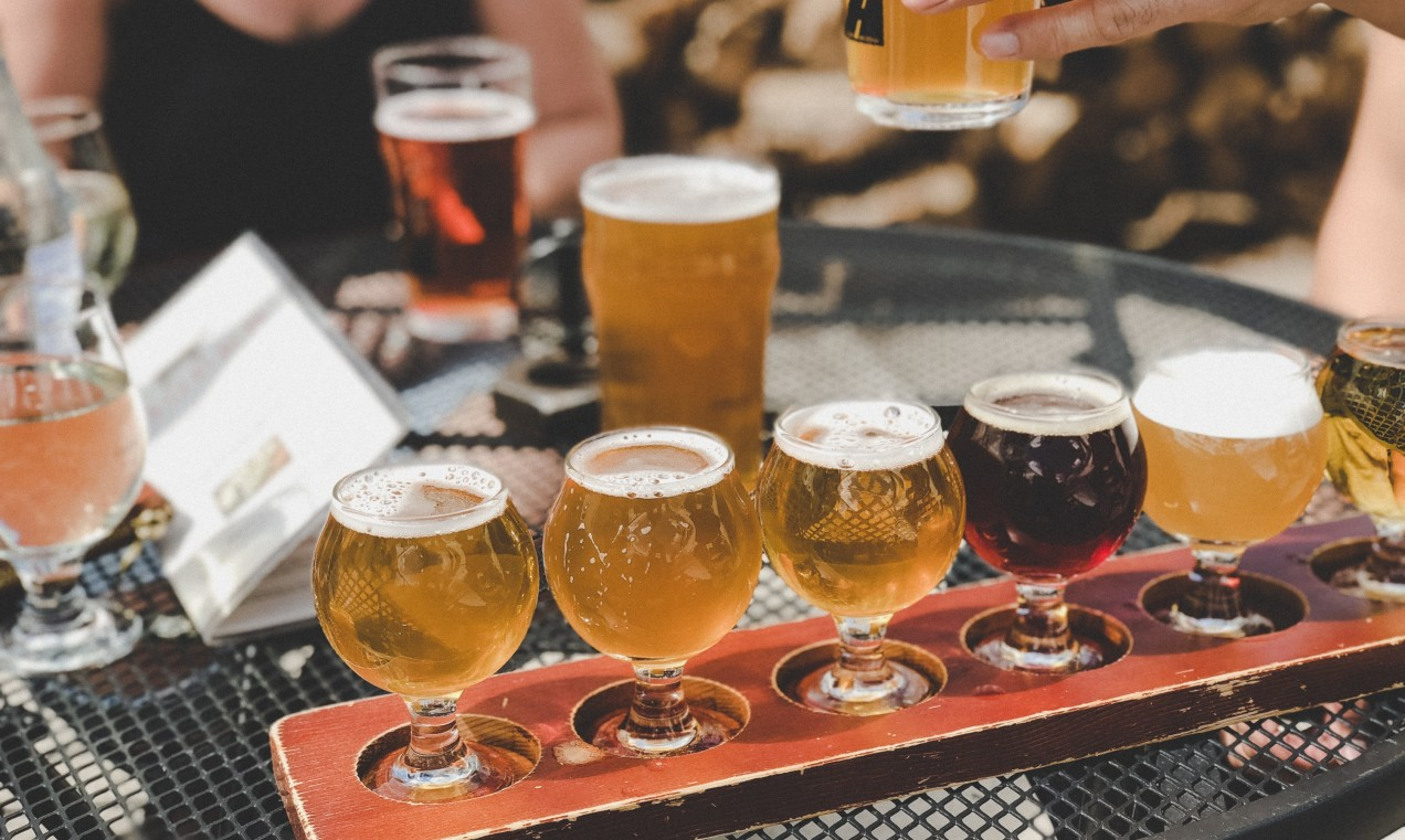 Photo of a flight of beer on a table