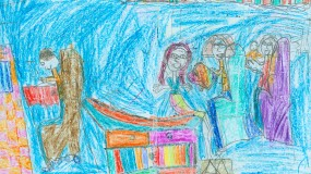 Child's drawing of a doctor's office showing the child on the exam table and the doctor at the computer.