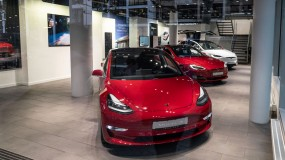A Tesla Model 3 in the Tesla Motors Store in Frankfurt