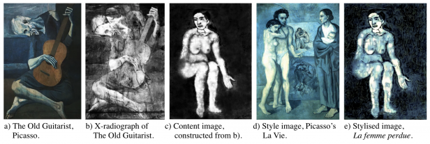 "Screengrab from research paper showing ""The Old Guitarist"", an X-radiograph of ""The Old Guitarist"", the content image constructed from the painting, a style image, Picasso's ""La Vie"", and the styled image ""La Femme Perdue"""