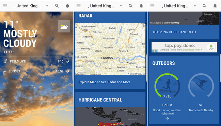 Screenshots of The Weather Channel app