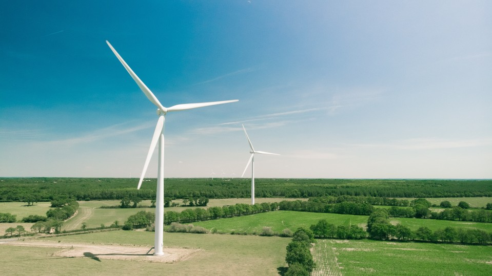 Wind turbines in France.