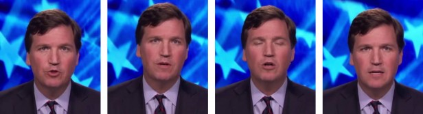 Four video still images of Tucker Carlson speaking
