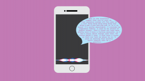 Illustration of a cell phone with a talkative voice assistant