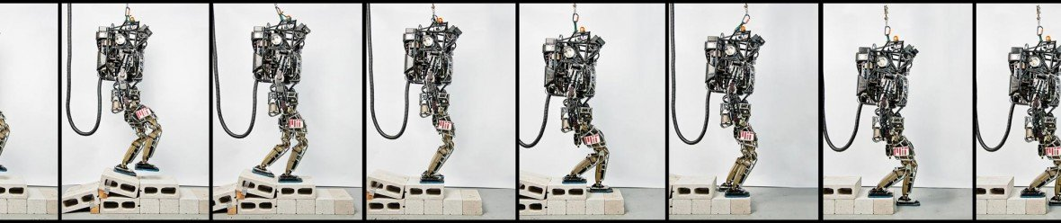 Montage of Atlas robot walking over cinder blocks while tethered