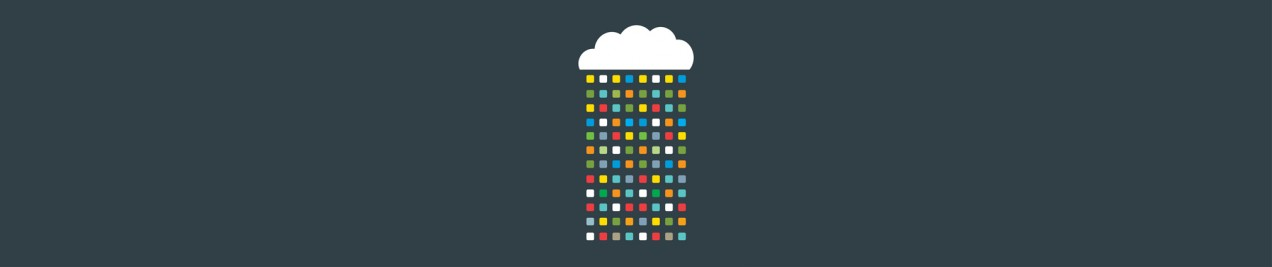 illustration of cloud with multicolor pixelated raindrops