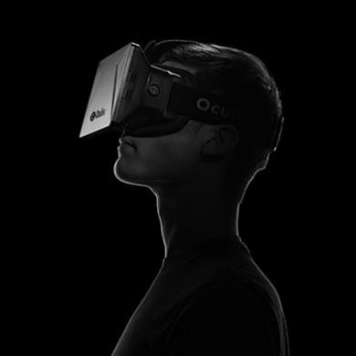 silhouette profile of man wearing an oculus rift headset