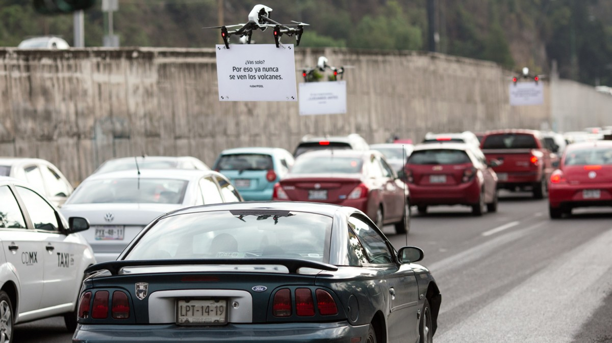Ubers Ad Toting Drones Are Heckling Drivers Stuck In Traffic