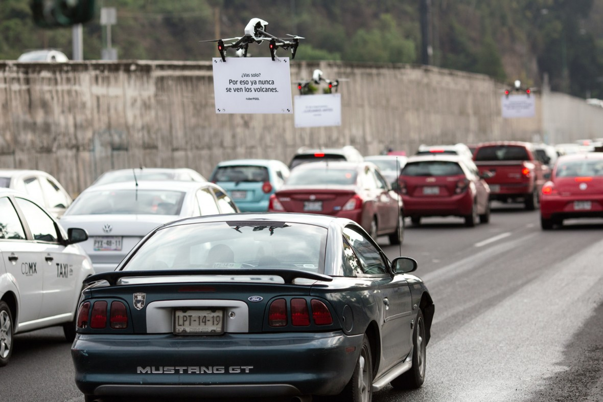 Uber's Ad-Toting Drones Are Heckling Drivers Stuck in Traffic