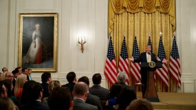 """Trump addresses a group gathered for a """"Social Media Summit"""" at the White House"""