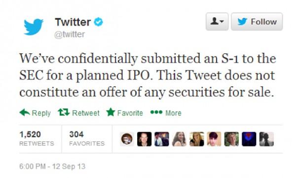 Twitter IPO tweet