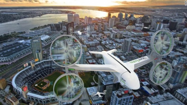 An artist's impression of what Uber's delivery drone will look like