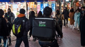 An Uber Eats courier in Tokyo