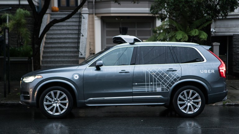 An Uber self-driving Volvo
