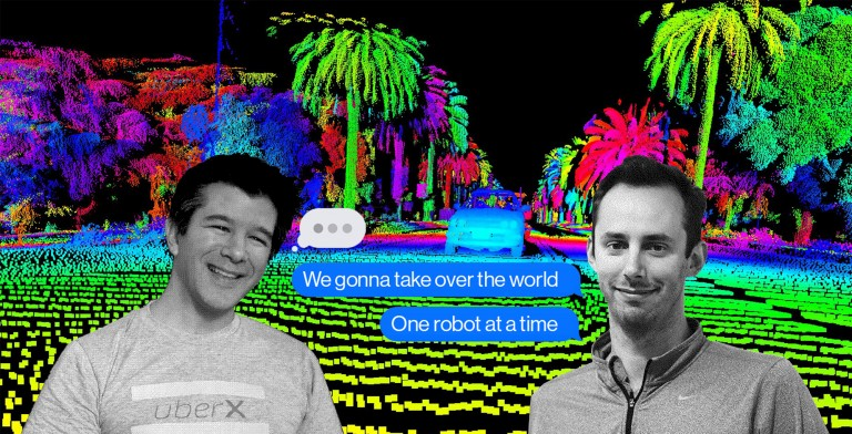 Travis Kalanick and Anthony Levandoski texting in front of a lidar image