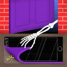 Illustration of skeleton arm lifting corner of doormat shaped like an iphone, revealing a key