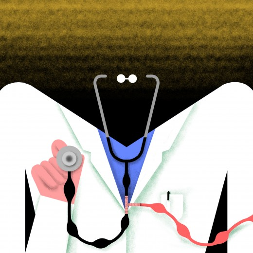 Illustration of a faceless doctor holding a stethoscope
