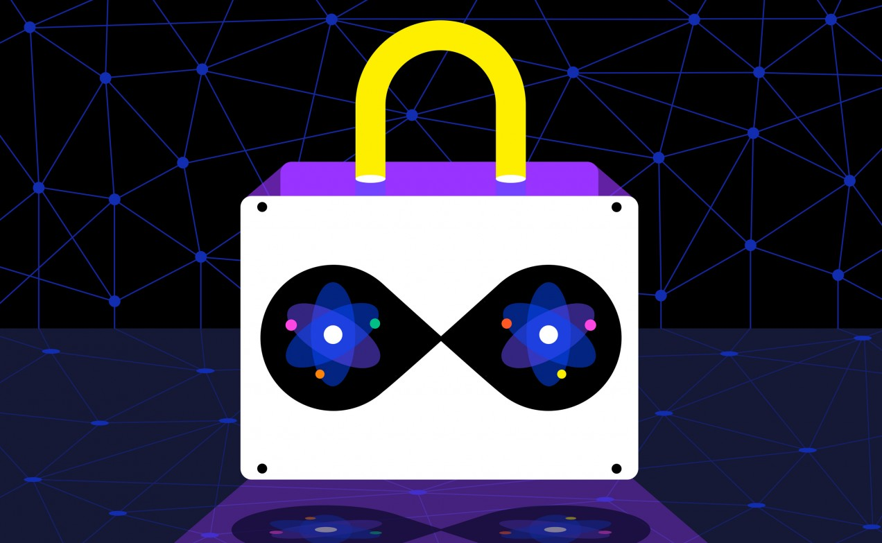 Conceptual illustration of a lock with entangled photons inside it, on an illustrated network background