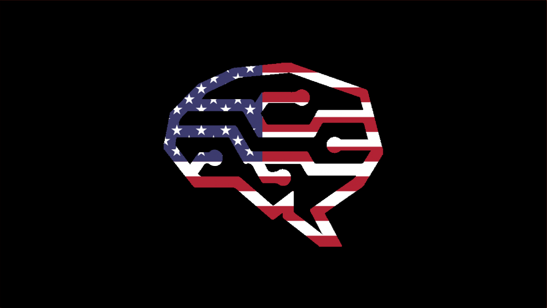 brain with circuitry and the US flag