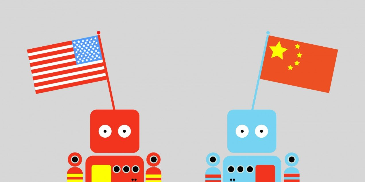 Illustration of a Chinese and an American robot