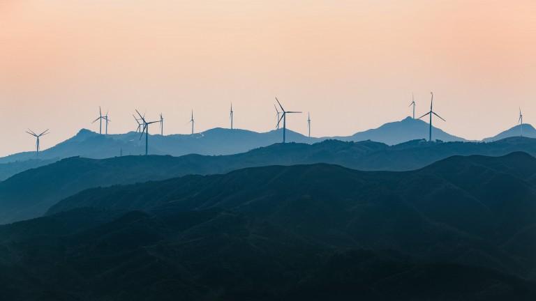 Wind turbines in China.